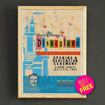 Vintage Disneyland Opening Ceremony Poster Disney Attraction Print Home Wall Decor Gift Linen Print - Buy 2 Get 1 FREE - 353s2g