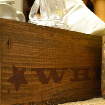 Rustic Silverware Caddy from Reclaimed Bookers Whiskey Box