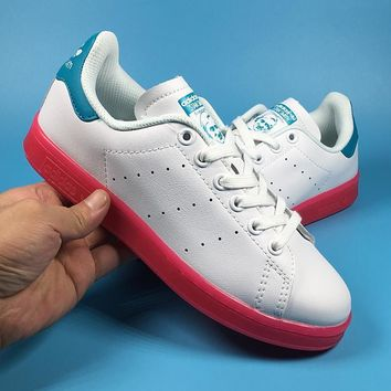 Adidas Stan Smith W Blue   White  Pink Women s Casual Shoes Sneaker 1f9029d7b143