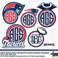 New England Patriots Monogram Frames. Vector Digital Cut Files. SVG, dxf, eps, pdf for Silhouette, Cricut, SCAL yety vinyl Die Cutting CF-49