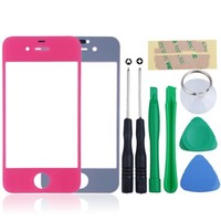 Replacement LCD Front Screen Glass Lens + Tools for iPhone 4 4S Hot Pink