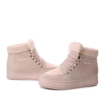 Fashionable Winter Style Suede Warm Platform Snow Ankle Boots Casual Sneakers For Women