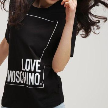 Black Womens Sexy Modern Stylish T-Shirt Tee Shirt Love Moschino Text