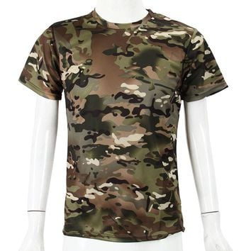 New Outdoor Hunting Camouflage T-shirt Men Breathable Army Tactical Combat T Shirt Military Dry Sport Camo Camp Tees-ACU