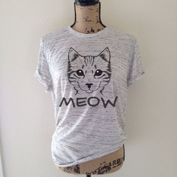 meow, cat shirt, cat, cat tank top, cat lover, kitten shirt, meow shirt, kitty shirt, cat tee, gift for cat lover, cat