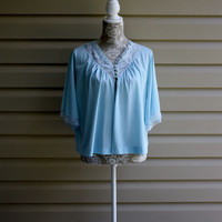 Vintage Baby Blue Bed Jacket Mother Day Gift Grandmother Gift Lingerie Night Clothes Womens