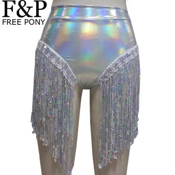 Summer Holographic Festival Rave Wear Clothes Outfits Hologram High Waist Fringe Shorts Women Holographic Fabric Bikini Bottoms