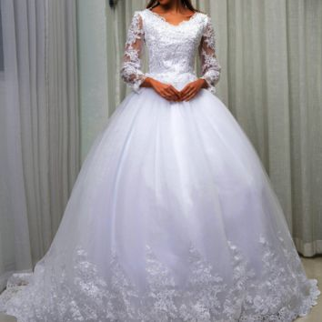 Ball Gown Princess Wedding Dress New Long Sleeve V neck Lace Up Pearls beads Lace Embroidery Wedding Gowns