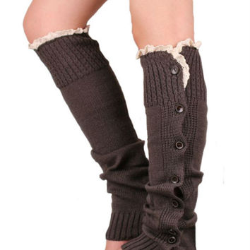 Retro Brown Lace And Button Decorated Knitted Leg Warmers