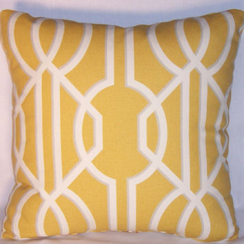 "Yellow Lattice Throw Pillow 17"" Square Cotton Lemon and White Trellis Art Deco Insert and Cover Ready to Ship"