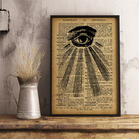All seeing eye print Occult poster, Eye of Providence art print, Divine providence print mystic symbol illuminati eye poster (AL09)