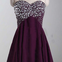 Purple Sweetheart Rhinestones Beading Homecoming Dress