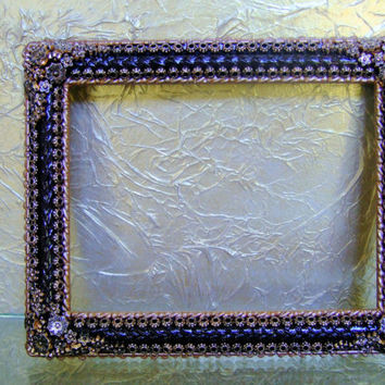 Dark Brown Hand Painted 5 x 7 Picture Frame Embellished with Bronze/Gold Tone Antique Finish Beads, Table Decor, Wall Decor