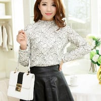 White Floral Lace Pattern Long Sleeve Top