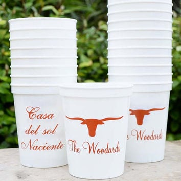 100 Personalized Plastic Stadium Party Cups