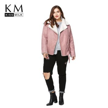 Kissmilk Plus Size Winter Warm Lambswool Jacket Big Size Turn-down Collar Zipper Female Large Size Streetwear Women Clothing