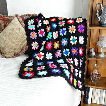 Granny Square Afghan,  Crochet Baby Blanket, Retro Style Nursery Decor, Multi Color Lap Throw