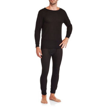 Ten West Men's Performance Wicking Thermal Top and Bottom Set, Black, X-Large