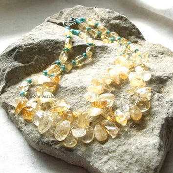 Chunky jewelry, double strand citrine and turquoise howlite necklace. Semiprecious gemstone jewelry, yellow citrine, , USA