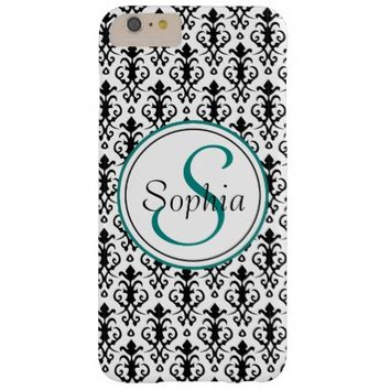 Monogrammed Damask black-white Barely There iPhone 6 Plus Case