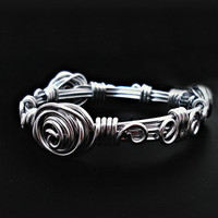 Wire Wrapped Bracelet - Cuff Bracelet - wire wrapped jewelry handmade, aluminum metal, silver tone
