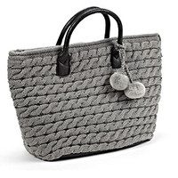 Stylish Cable Knit Tote Bag with Pom Poms - Grey