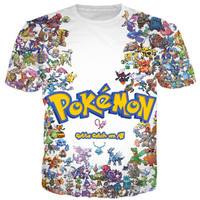 2015 New Summer style Crewneck tshirt funny Pokemon Printing 3d t shirt men/women Tops Outdoor Cartoon t shirt Free shipping