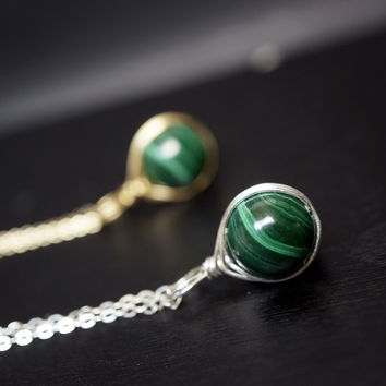 Tiny Malachite Necklace - Wire Wrapped Malachite Necklace, Gold Malachite Necklace - Natural Malachite Jewelry - Sterling Silver Gold Fill