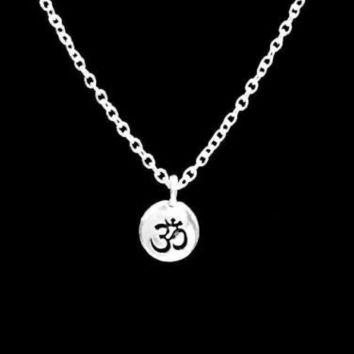 Ohm Om Charm Buddha Yoga Religious Necklace