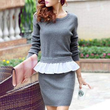 Pretty False Two Piece Falbala Knit Sweater Dresses