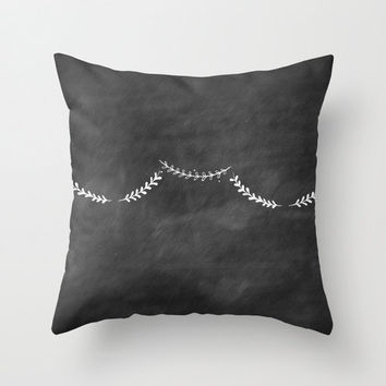 Black Home Decor Chalkboard Decorative Fabric Throw Pillow Cover Illustrated Leaf Banner Home Goods
