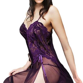 ONETOW Eggplant Lace  Lingerie Sleepwear  Nightgown