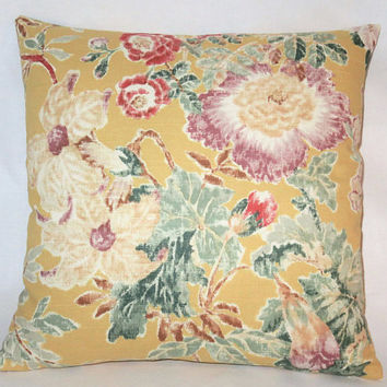 "Yellow Mauve Teal Floral Pillow, 17"" Square Cotton, Cottage Chic, Vintage Look Flowers, Zipper Cover Only or Insert Included, Ready to Ship"