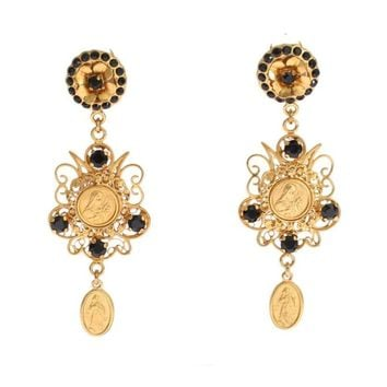 Dolce & Gabbana Gold Black Crystal Sicily Dangling Clip On Earring