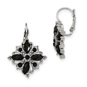 Silver-tone Black Crystal Flower Leverback Earrings BF1153