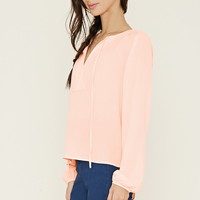 Tie-Neck Crepe Blouse | Forever 21 - 2000152592