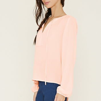 Tie-Neck Crepe Blouse   Forever 21 - 2000152592