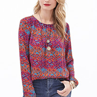 LOVE 21 Pleated Tribal Print Blouse Wine/Orange
