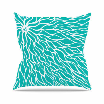 "NL Designs ""Swirls Tiffany"" Teal White Outdoor Throw Pillow"