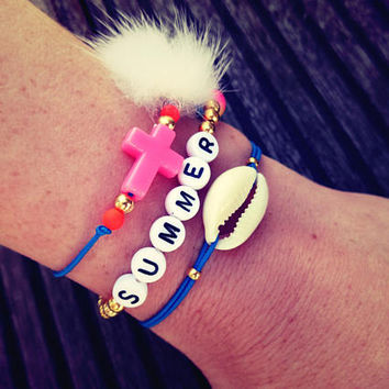 fluffy cross bracelet - friendship bracelet - holy fur bracelet - gift for her