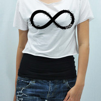 INFINITY T Shirt Tank Top Midriff Crop Top women handmade silk screen printing