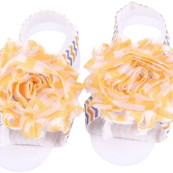 Shabby Chic Baby Toddler Barefoot Sandal Peach Orange Chiffon Flower Elastic Foot Wear  2 Pc 1 Pair New Item