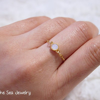 Delicate gold filled chain Rose water oral Swarovski dainty bezel ring - simple everyday ring