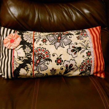 Patchwork Cushion cover , Pillow cover . Floral with Pink Accent.