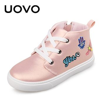 UOVO 2018 Spring Autumn Kids Casual Shoes Lace-up Closure with Cartoon Pattern Sneakers Boys & Girls Shoes EUR 27-36#