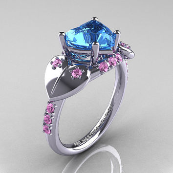 Classic Hearts 14K White Gold 2.0 Ct Blue Topaz Light Pink Sapphire Engagement Ring Y445-14KRGLPSBT