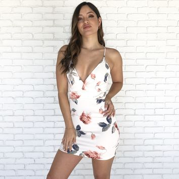 Feels Good Floral Dress In White