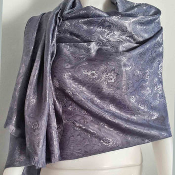 "Handwoven 100% Thai Silk Scarf  Floral Vintage Fashion Design  20x70""  Grey Beach Winter Scarf  Soft and smooth"