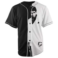 Scarface Black & White Button Up Baseball Jersey
