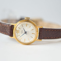 Gold plated woman's watch Glory tiny wristwatch round case classic watch premium leather strap